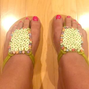 Floral beaded sandals- gently used